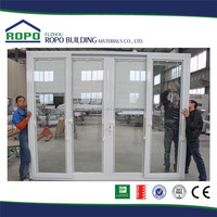 PVC white frame sliding louvered soundproof interior door