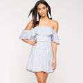 custom white and blue strip botton up dress with off shoulder design for women
