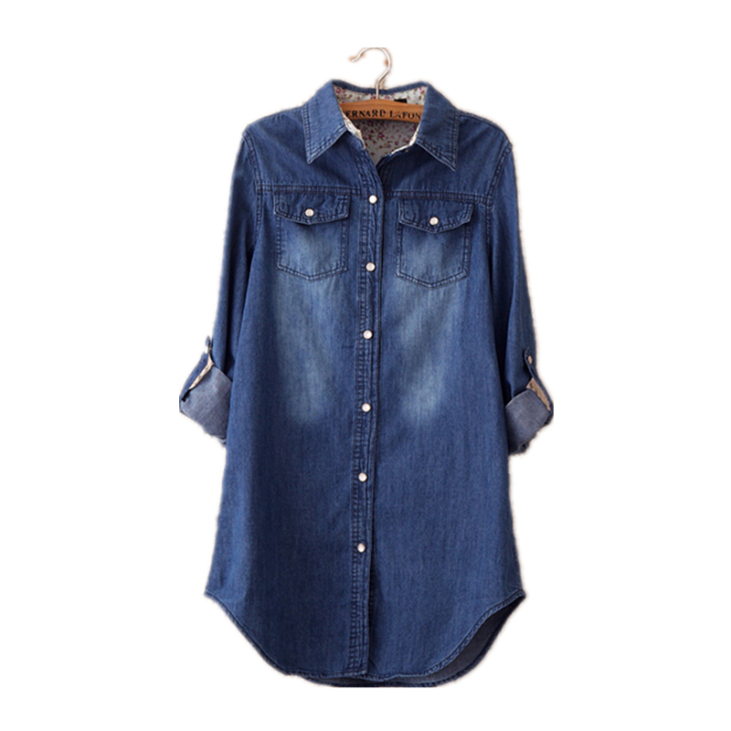 Free Shipping 2015 Women Blouse Spring Autumn Long Sleeve Casual Denim Shirt Slim Cotton Jeans Shirts Women Shirts M L XL XXL