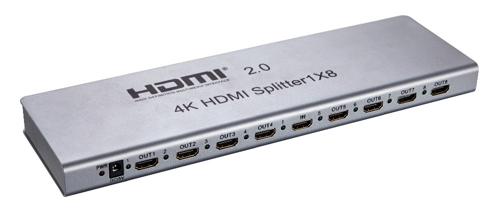 4k@60hz HDMI splitter metal housing hdmi splitter 1 in 8 out HDMI 2.0 Splitter 3D