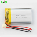 Rechargeable 3.7v polymer li-ion battery 103048 1500mah lipo batteries for protable smart devices