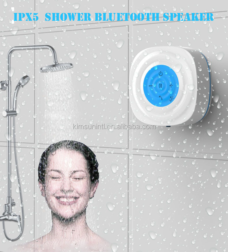 multi function portable ipx5 waterproof wireless bluetooth shower speaker with suckers 2016