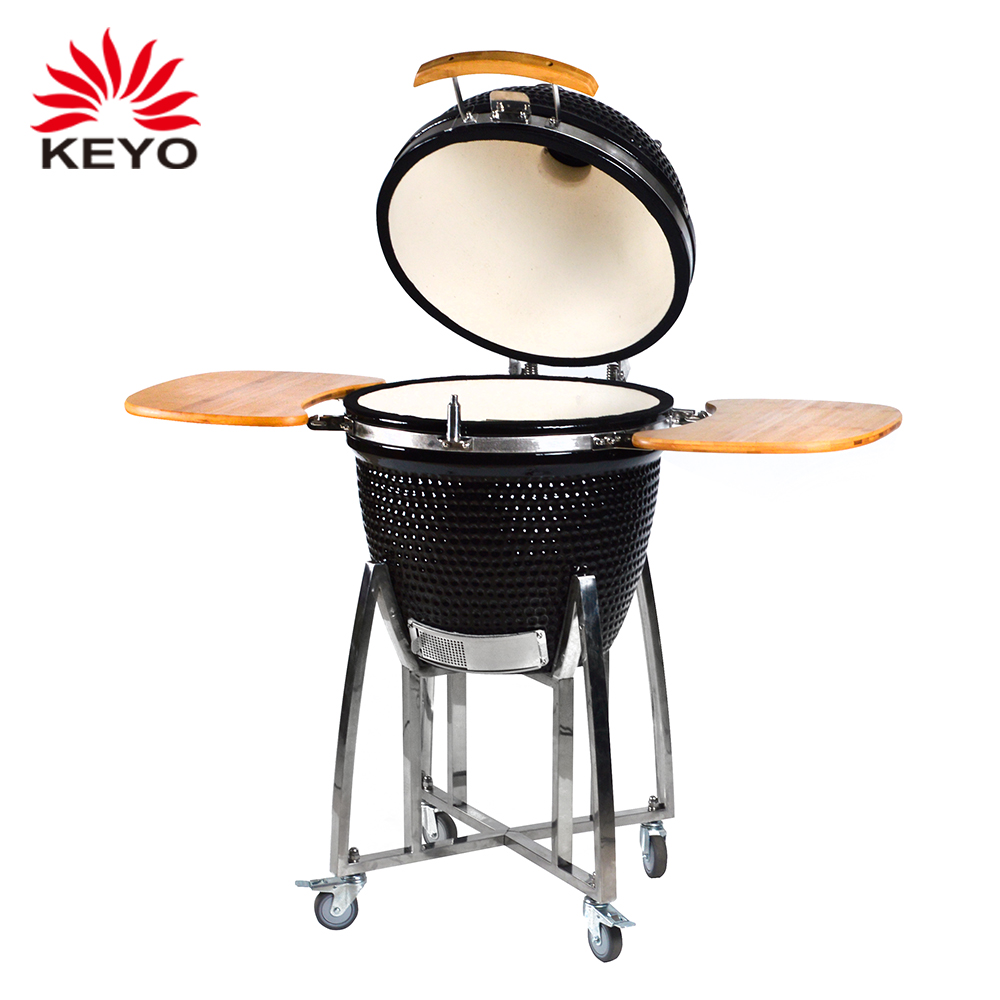 "21"" ceramic black egg shaped kamado barbecue grill charcoal clay bbq kamado mobile grill"