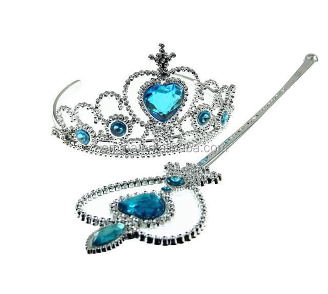 Fashion cheap frozen princess elsa tiara and wand high quality crown for girls CWT8030