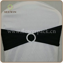 Black Lycra Chair Bands With Round buckle ,Lycra Chair Cover Sash Bands for Weddings Events Decoration
