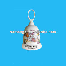 decorative glazed white ceramic souvenirs bell