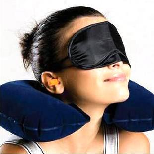 3 In 1 Neck Air Pillow Ear Plug Eye Mask Travel Kit Set, 200528