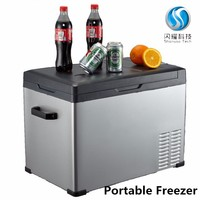 dc 12v 220v car portable fridge freezer refrigerator portable deep freezer outdoor camping 75L