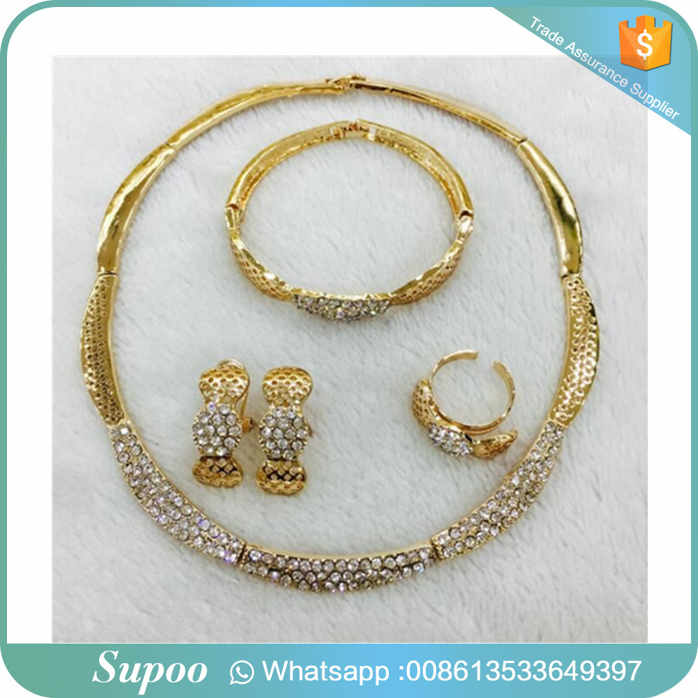 Bridal crystal jewelry and gold jewelry ring plating low cost earrings with flower shape