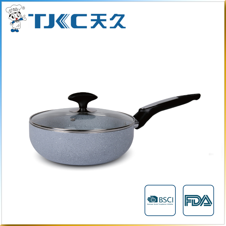 Marble Ceramic Wok with Long Handle and Glass Lid