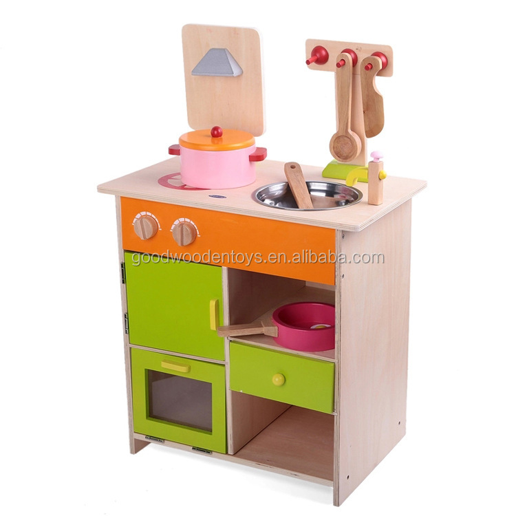 Yunhe Factory Solid Wood Made Pretend Play Kitchen Set