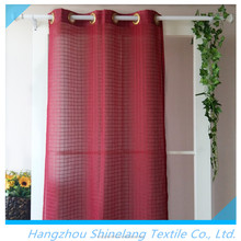 Home decorative polyester plaid sheer organza curtain