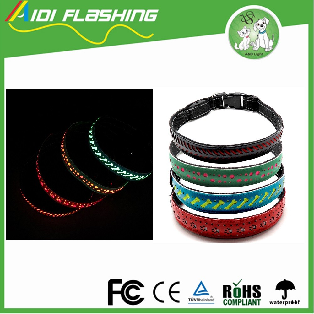 Nylon LED Shining Dog Collar Light For Safety