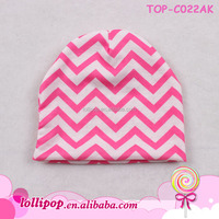 2015 Best-selling baby crochet summer hat baby beanies pink and white chevron wholesale cotton baby beanies