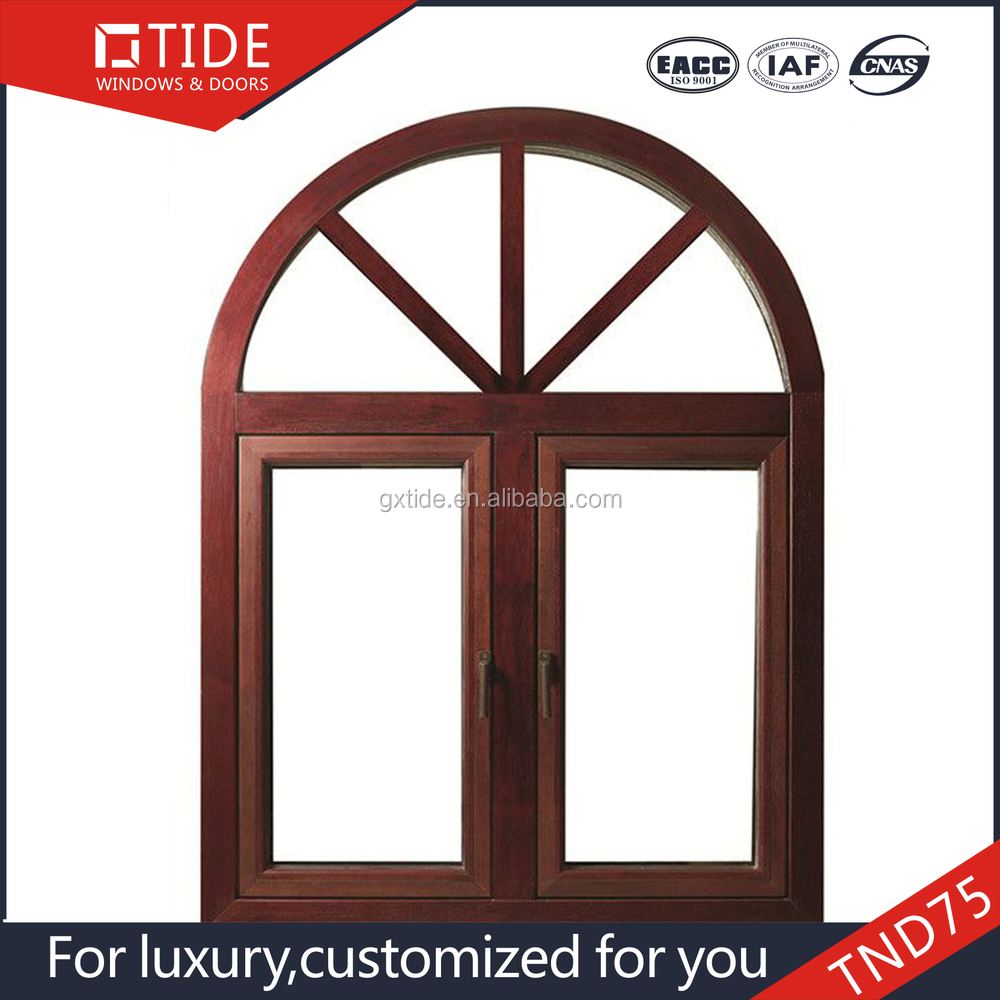 Round window top ,Aluminum and wood arched windows
