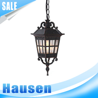 Light Outdoor Pendant, Black with Satin-Etched Cased Opal Glass