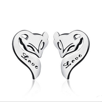 925 sterling silver fashion fox animal shape trendy latest earring design