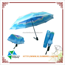 new design rainbow auto 3 folding umbrella with resin ribs