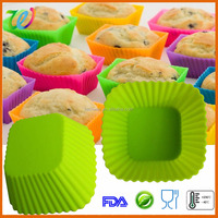 Hot sale dishwasher safe silicone recycle square cupcake liner