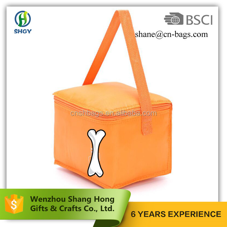 orange 600 denier polyester cooler tote bag promotional wtih silk screen printing