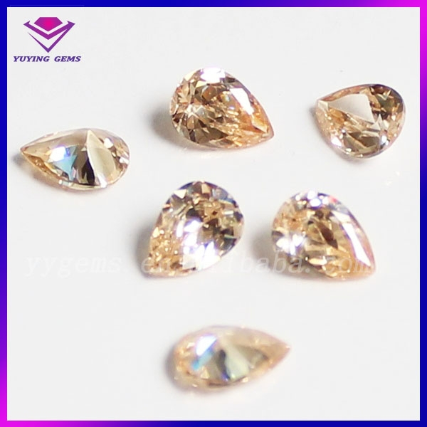 Cheap loose diamonds wholesale pear champange for cubic zirconia jewelry