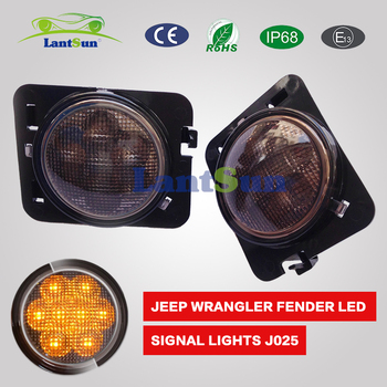 Smoke/Amber LED Fender Light Lens for Jeep Wrangler JK - Pair J025