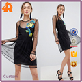 customize your own black dress,casual dress form with flower embroidery