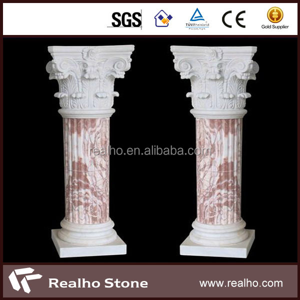 natural hand carved indoor/outdoor white marble column