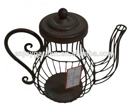 Antique decorative wrought iro teapot metal candle holder