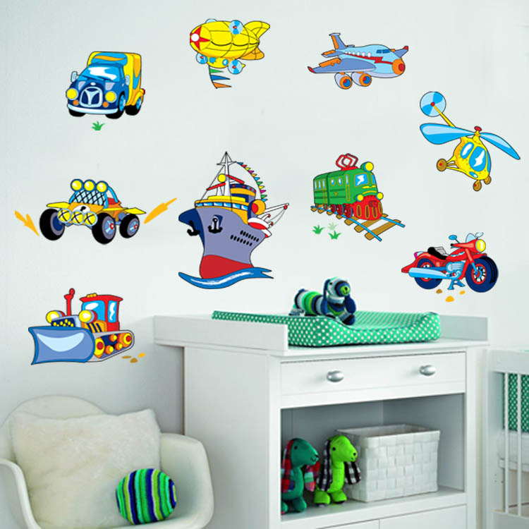 Kids Boys Room Sticker Plans Ship Traffic Cartoon Pattern Removable Wholesale Wallpaper Sticker for <strong>Walls</strong>