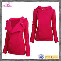 Womens fashion cotton slim fit zip up hoodie fleece jacket