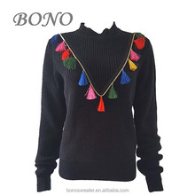 New design stand collar loose fit pullover sweater for women