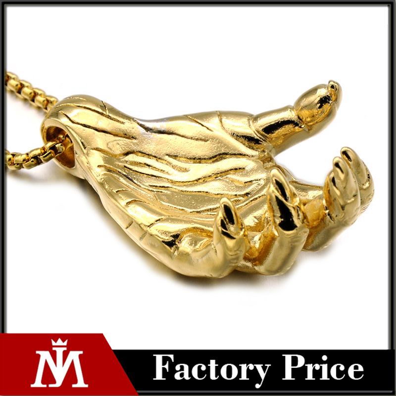 Gothic Jewelry Stainless Steel 18k Gold Plated The Hand Of Death Pendant Men's Palm Charm Pendant Necklace For Gift
