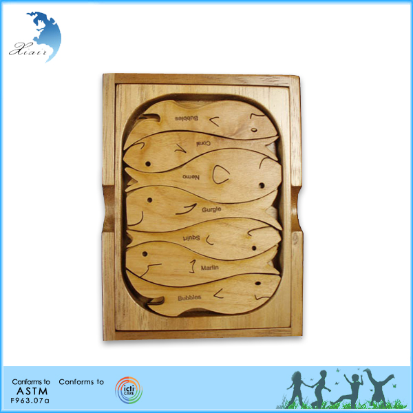 Wholesale handmade school kids wooden puzzle toys gift large square animals shaped puzzle toys
