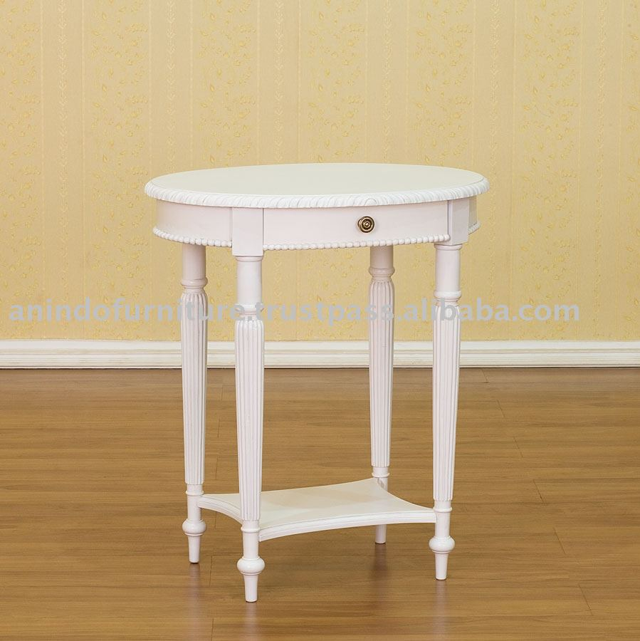 White Painted Furniture   1 Drawer Oval Side Table With Shelf   Buy White  Painted Furniture,1 Drawer Oval Side Table With Shelf,White Furniture  Product On ...
