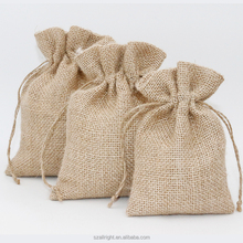Promotional drawstring jute bag , hessian bags pouch