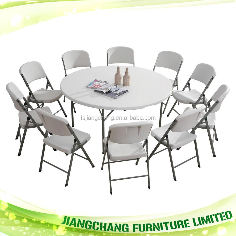 6 ft round plastic folding table and chair