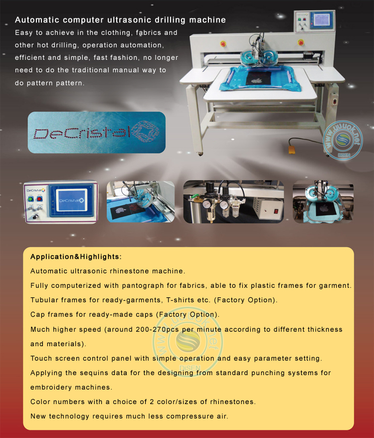 Computer control full automatic high speed one head two color ultrasonic rhinestone transfer machine