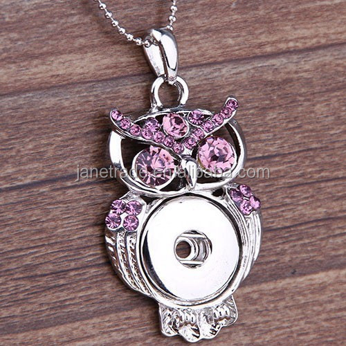 Hot fashion elegant owl animal design rhinestone snap pendant necklace