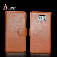 Premium flip folio genuine leather case for samsung galaxy note 5