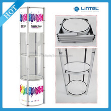 Promotional folding twist tower showcase display,portable display case LT-07