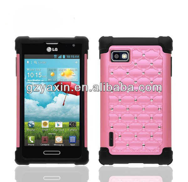 high quality Luxury crystal diamond wallet cover case with bling bling phone case,case cover for lg optimus f3 ls720