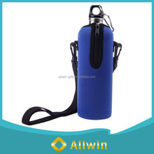 Blue neoprene bottle carrier insulated with removable strap