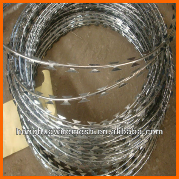 CBT-65 pvc coated razor barbed wire/hot dipped galvanized razor wire BTO