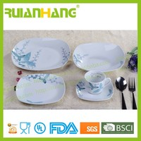 Luxury blue orchid pattern porcelain dinner set