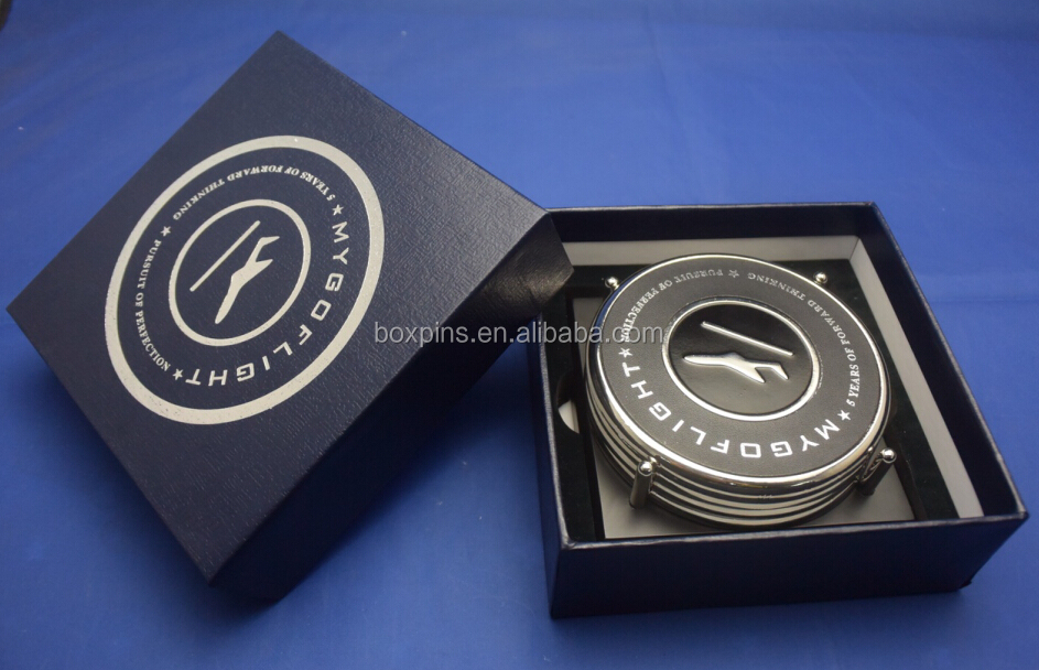 heat stamping silver logo Metal coasters 4pcs set and wood holder with paper box
