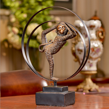 Decorative hollow out resin bronze animal monkey statues