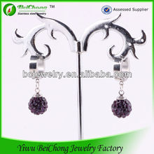 Wholesale white gold ear tops designs with flashing diamond