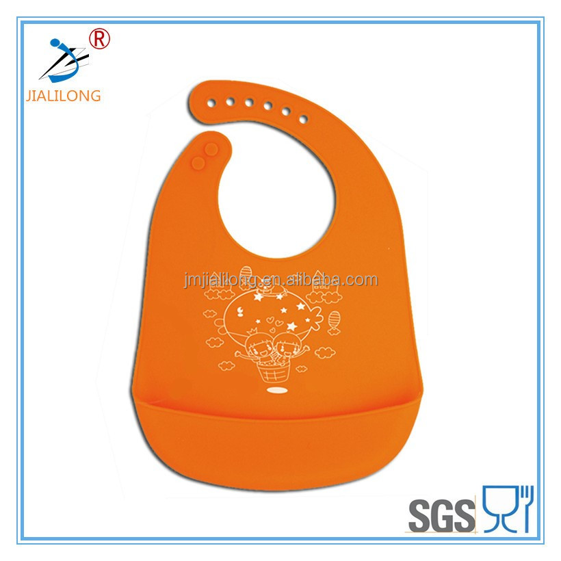 Eco-friendly soft touch custom made silicone baby bib, adjustable baby bib banana ,silicone bib