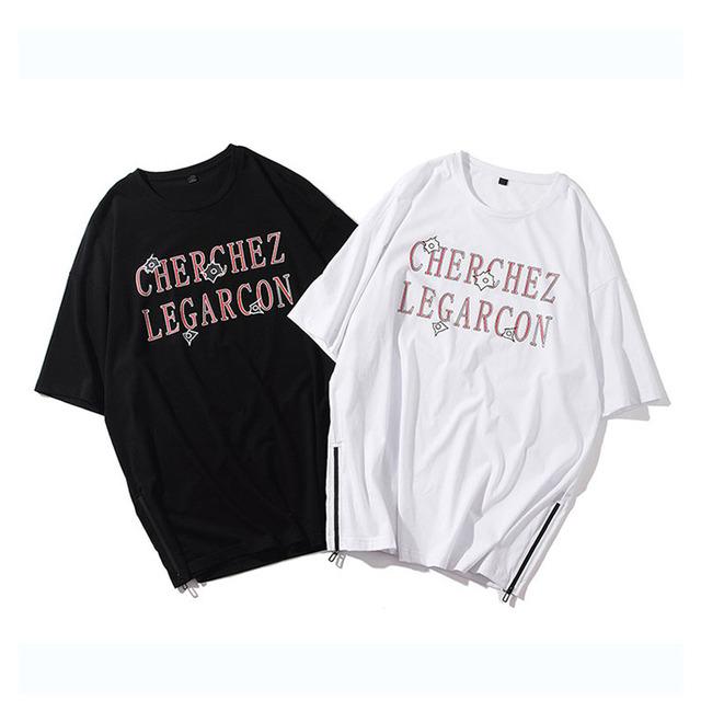OEM bulk t shirt manufacturing cheap chinese men short sleeve hem zipper t shirt custom